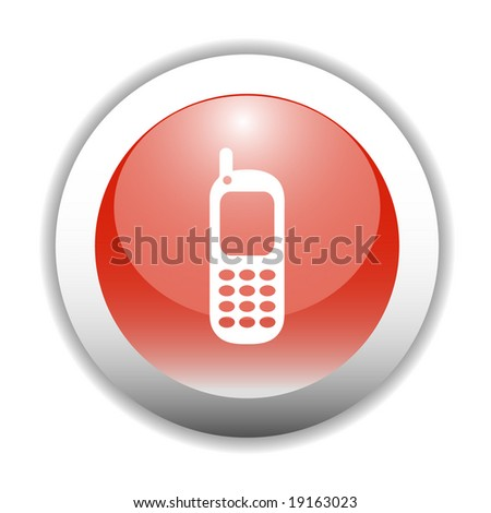 Glossy Mobile Phone Sign Icon Button - stock vector