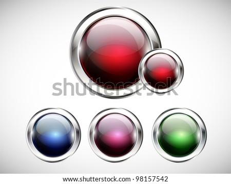 Glossy modern web button. Web navigation. Vector. Part of set. - stock vector