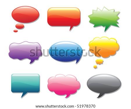 Glossy multicolored vector talk bubbles - stock vector