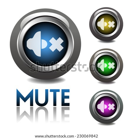 Glossy mute web buttons isolated on a white background - stock vector
