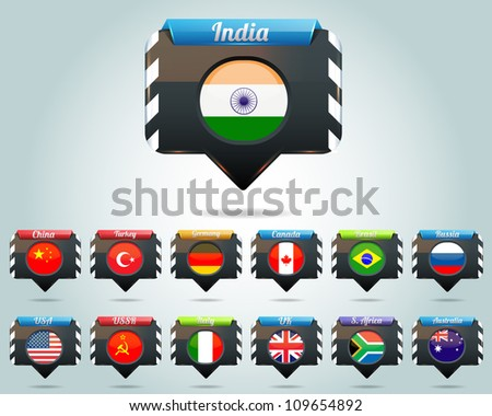 Glossy National Symbol Button Vector - stock vector