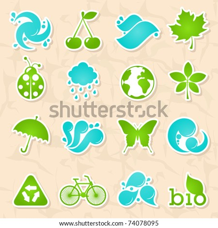 Glossy nature and water symbols - stock vector