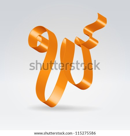 Glossy orange ribbon decorative silk capital W letter