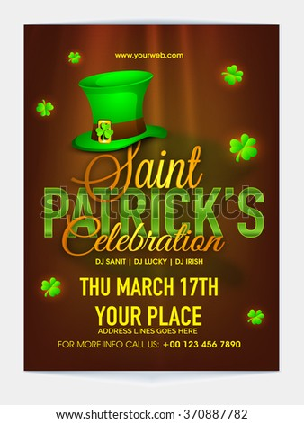 Glossy Pamphlet, Banner or Flyer design with date and place details for Happy St. Patrick's Day Party celebration. - stock vector