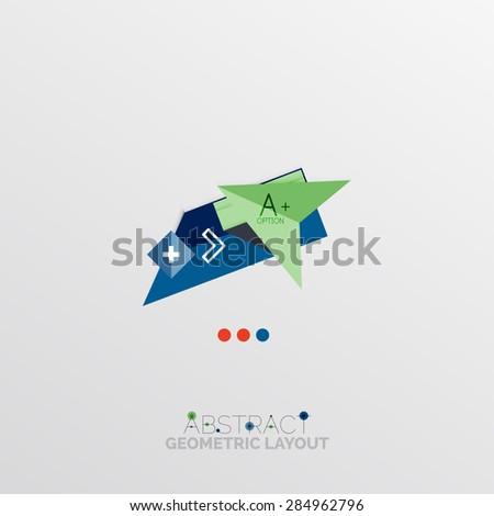 Glossy paper style geometric abstract infographic design, 3d shapes with light edges - stock vector