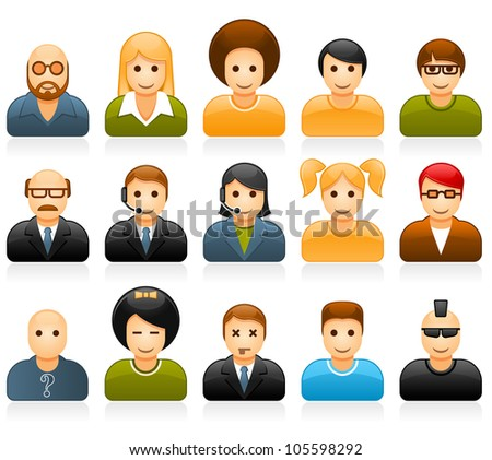 Glossy people avatars with different style and hairdo - stock vector
