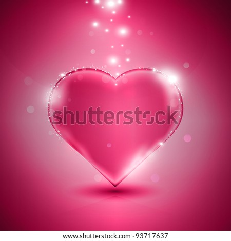 Glossy pink heart on pink background, eps10 vector illustration - stock vector