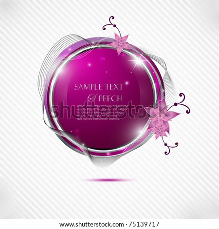 Glossy pink speech bubble with flowers - stock vector