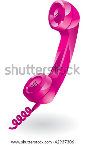 glossy pink telephone receiver. Vector illustration - stock vector