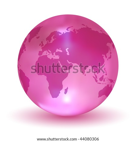 Glossy Pink Vector Earth Globe - stock vector