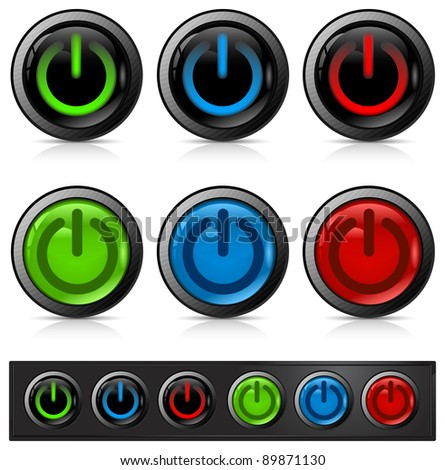 Glossy power button icon on white, vector illustration - stock vector