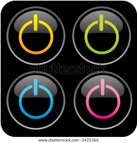 glossy power buttons - stock vector