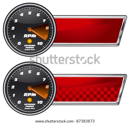 glossy racing banner with tachometer - stock vector
