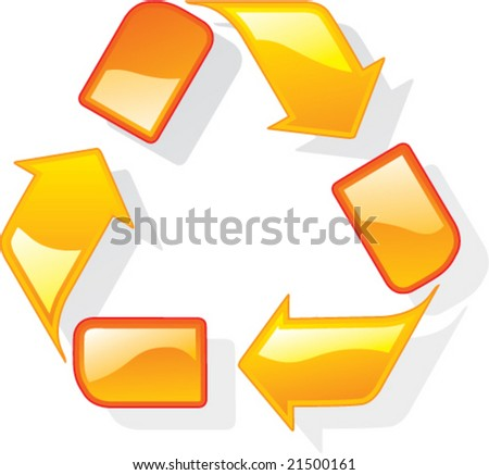 Glossy Recycle Icon Vector Art - stock vector
