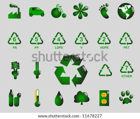 Glossy recycling & environment icons - Part 3 (vector) - stock vector