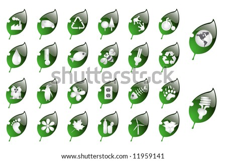 Glossy recycling & environment icons - Part 5 (vector) - stock vector