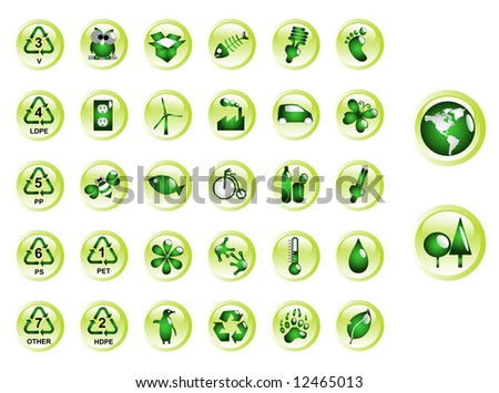Glossy recycling & environment icons - Part 9 (vector) - stock vector