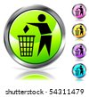 Glossy recycling sign buttons. Vector - stock vector