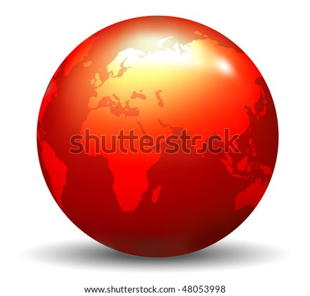 Glossy Red Earth Globe (Vector) - stock vector