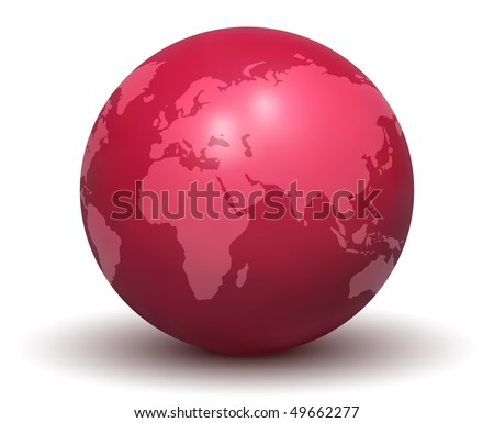 Glossy Red Earth Globe (Vector)