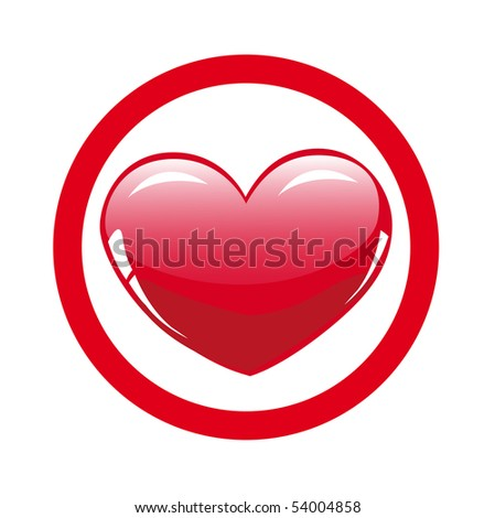 Glossy red heart - stock vector