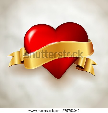 Glossy red heart and shiny golden ribbon on paper background. Vector illustration with place for your message. - stock vector
