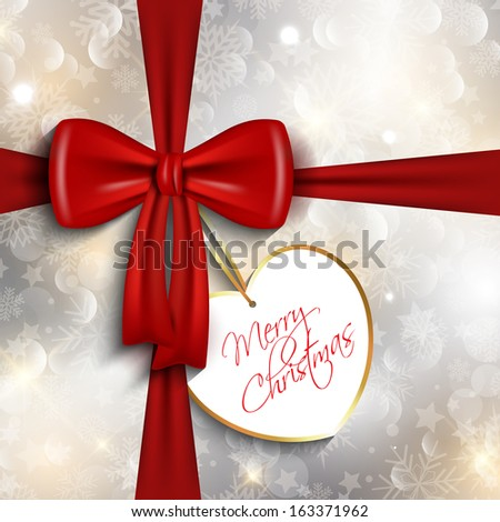 Glossy red ribbon Christmas gift background