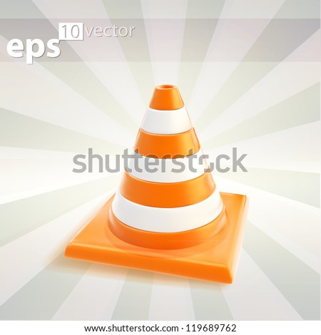 Glossy road cone colored orange and white, eps10 vector icon emblem - stock vector