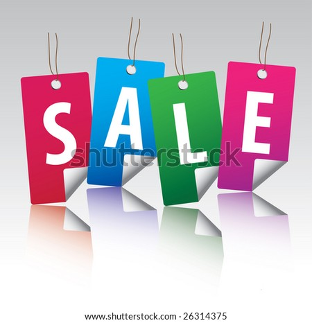 Glossy sale tag stickers with reflection / vector - stock vector
