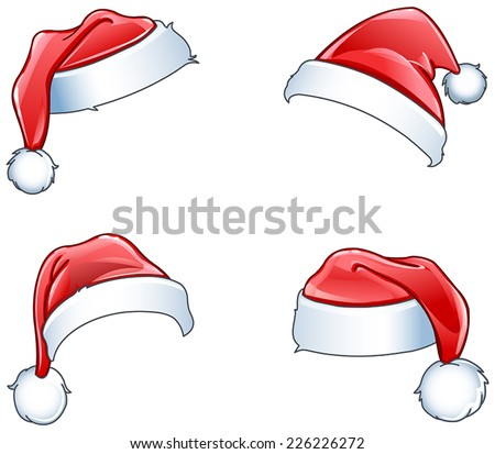 Glossy Santa hats set - stock vector