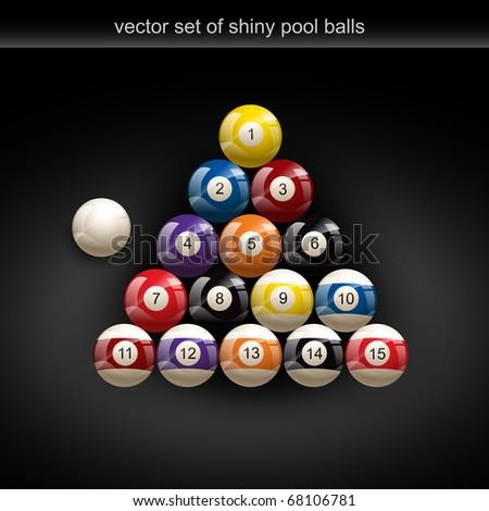 glossy set of pool balls. Vector illustration - stock vector