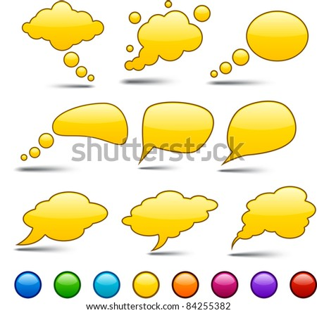 Glossy set of vector shiny glass speech bubbles. - stock vector