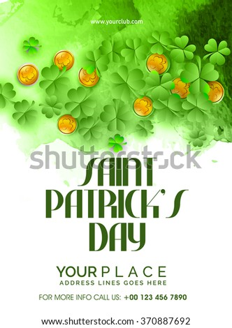 Glossy Shamrock Leaves and Gold Coins decorated, Pamphlet, Banner or Flyer design for Happy Saint Patrick's Day celebration. - stock vector