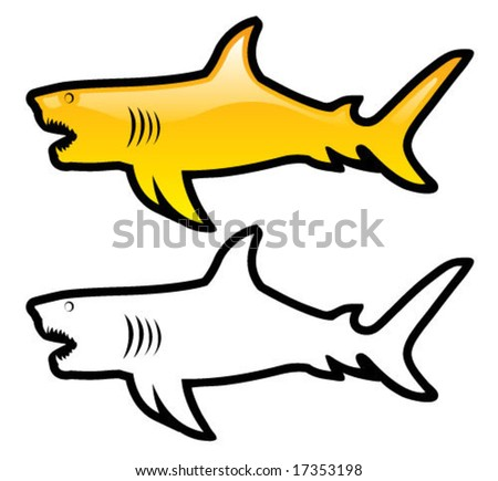 Glossy Shark Icon - stock vector