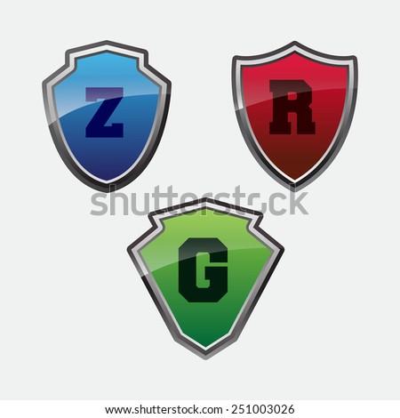 glossy shield - stock vector