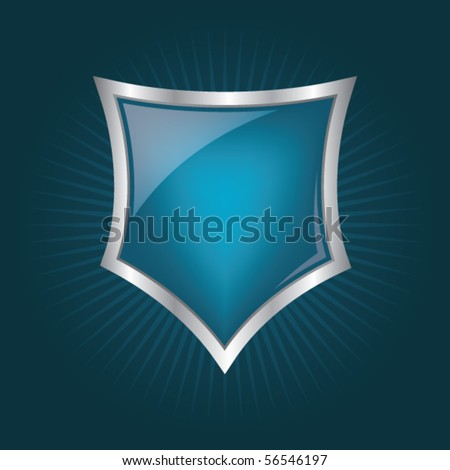 Glossy shield emblem - stock vector
