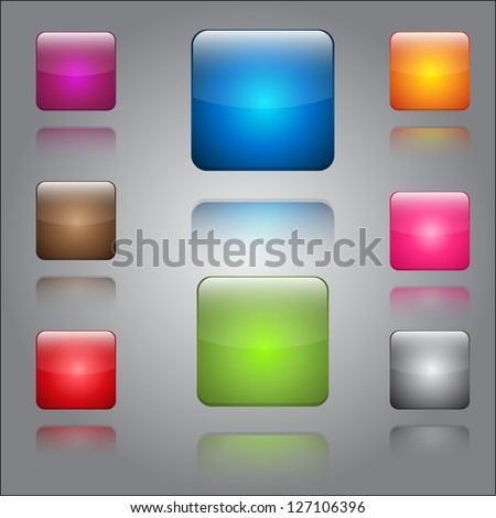 Glossy Shiny Button Icon Set