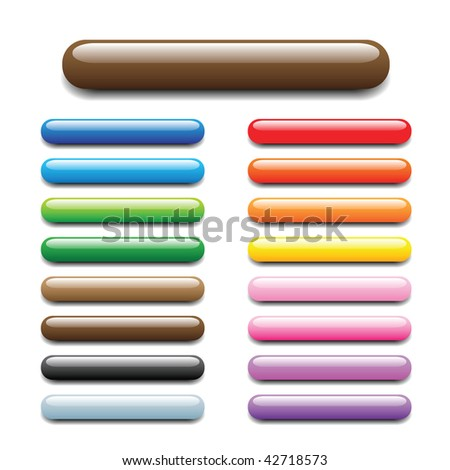 glossy, shiny candy looking elongated bars for website, internet, design and other usage. No transparency is used. Please check round and square sets which are available in my profile. - stock vector