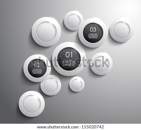 Glossy shiny circles panel / banners for business design, infographics, reports, progress, number options, step presentation, websites or workflow layout. Clean and modern style - stock vector