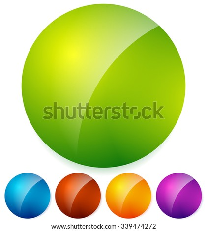 Glossy, shiny circles spheres backgrounds in vivid colors with reflection - stock vector