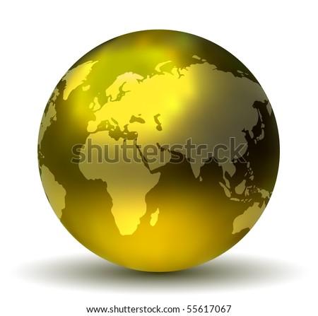 Glossy Shiny Earth Globe - stock vector