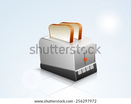 Glossy silver household appliance toaster with bread on stylish background. - stock vector