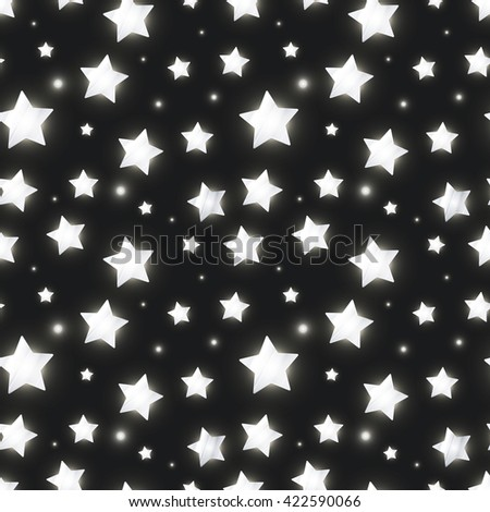 Glossy silver stars on dark background, seamless pattern