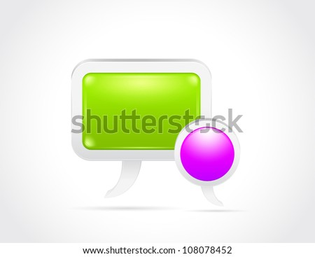 Glossy speech bubble isolated on gray white background - stock vector