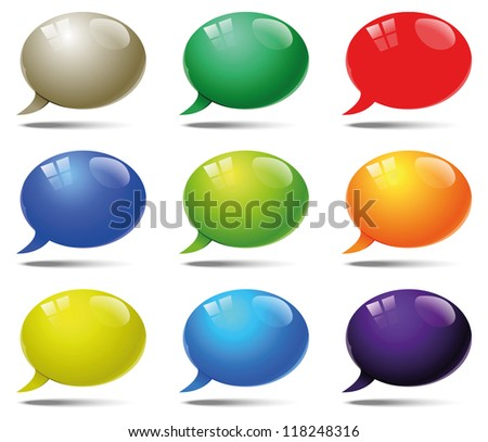 glossy speech bubbles - stock vector