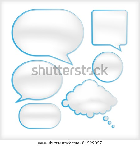 Glossy Speech Bubbles in Blue and White on White Background - stock vector