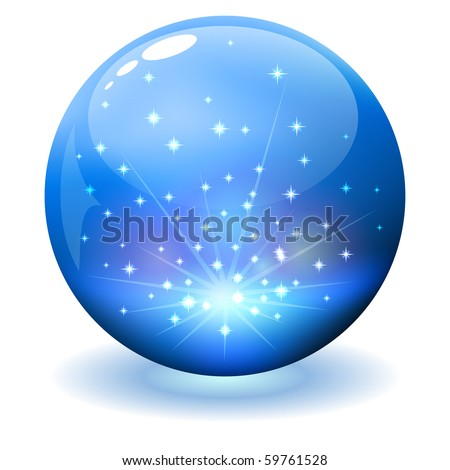 Glossy sphere with sparks inside. - stock vector