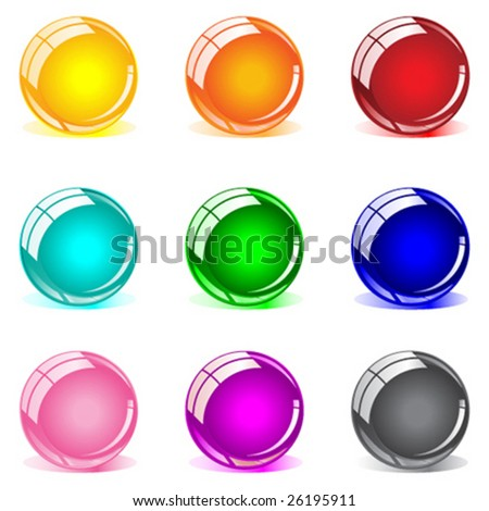 Glossy spheres in 9 colors