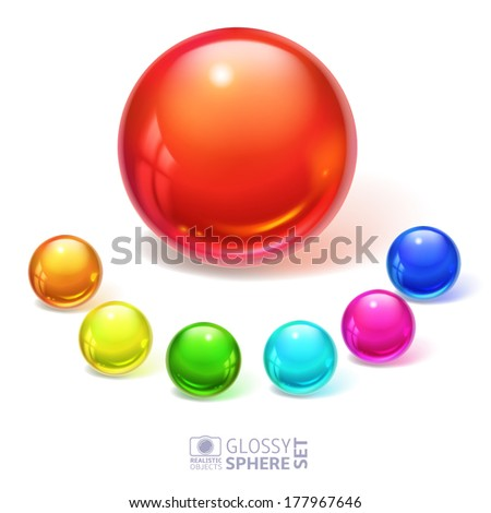 Glossy spheres, set - stock vector