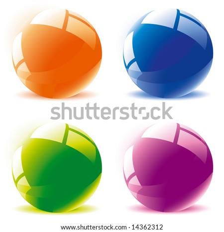 Glossy spheres. Vector. - stock vector
